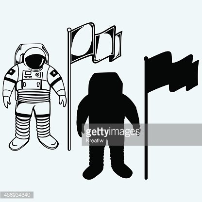 Astronaut and flag Clipart Image.