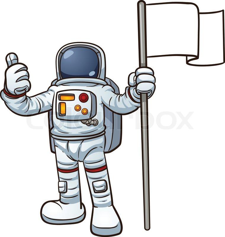 Astronaut With Flag Clipart.