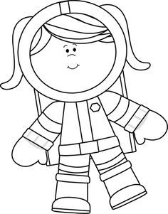 Black and White Girl Astronaut Floating Clip Art.