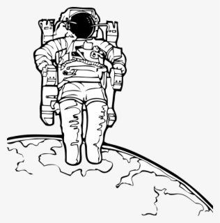 Free Astronaut Black And White Clip Art with No Background.