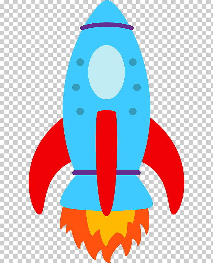 Ilustración de cohete azul, astronauta astronauta niños.