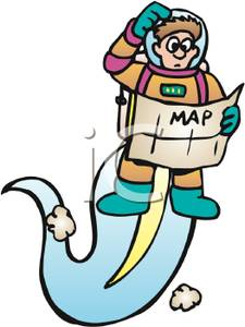 A Colorful Cartoon of a Lost Astronaut Looking At a Map and.