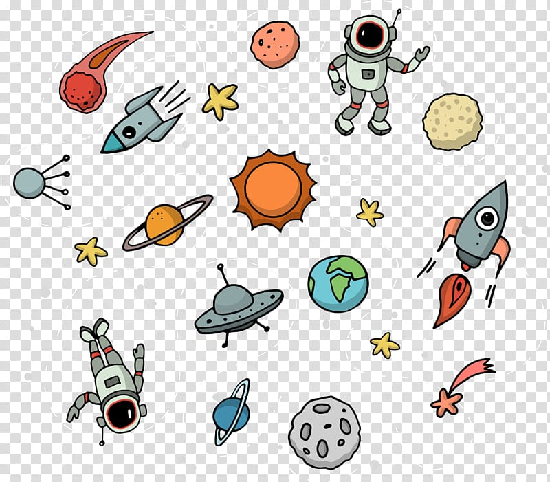 Outer space Astronaut Illustration, space station.
