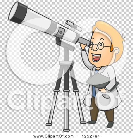 Clipart of a Red Haired White Male Astronomer Looking Through a.