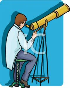 Clipart Picture of an Astronomer Using a Large Telescope.