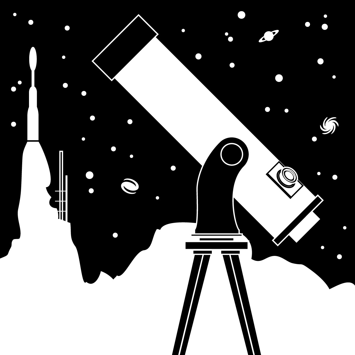 Astronomer clipart black and white.