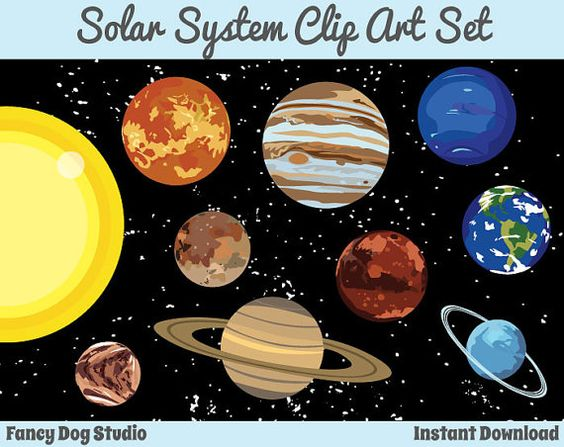 Solar System Art Outer Space Clipart Instant Digital Download.