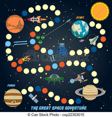 Vector Clip Art of Space quest game with start finish and.