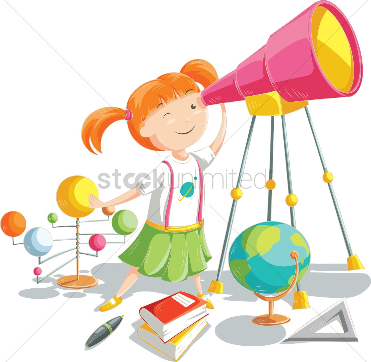 Cartoon girl with telescope Vector Image.