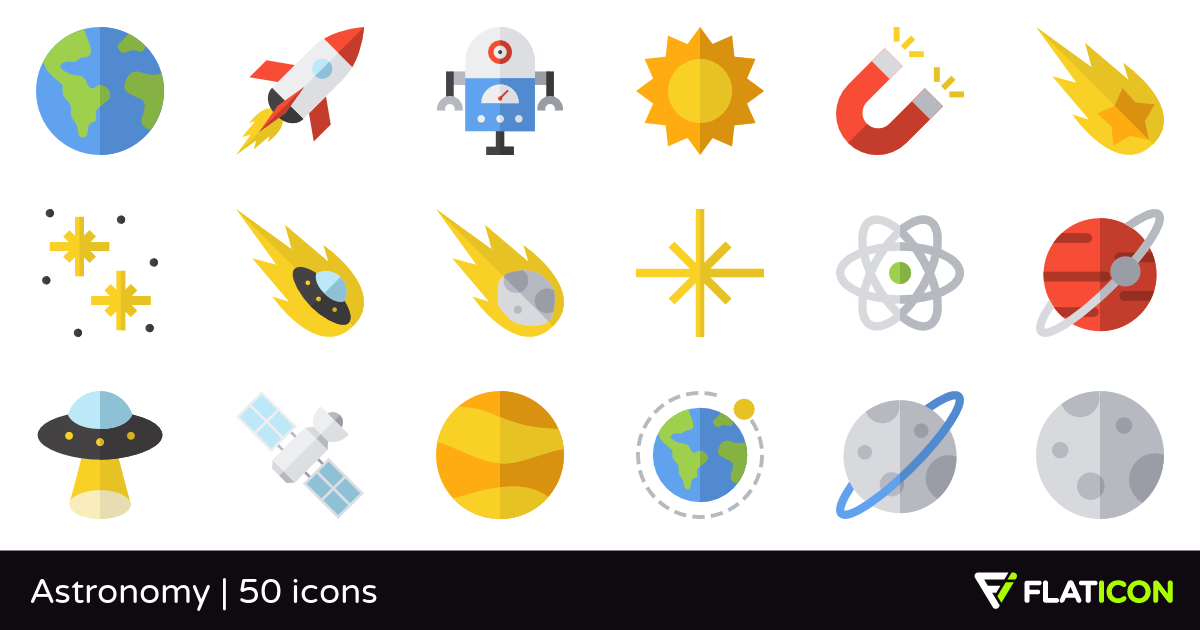 Astronomy 50 free icons (SVG, EPS, PSD, PNG files).
