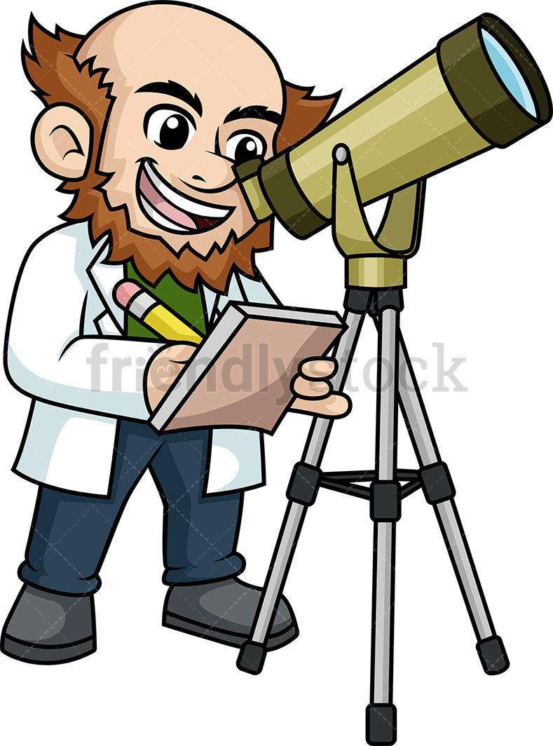 Scientist Looking Through Telescope in 2019.