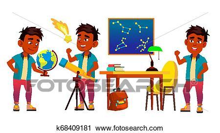 Astronomy, Astrophysics Student Vector Cartoon Characters.
