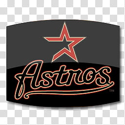 Cinema dock icons, Astros, black and red Astros logo.