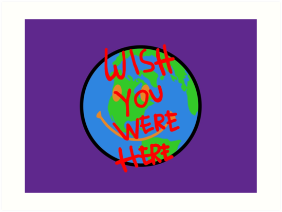 'Travis Scott Astroworld Globe Smiley Wish You Were Here' Art Print by  hypewearco.