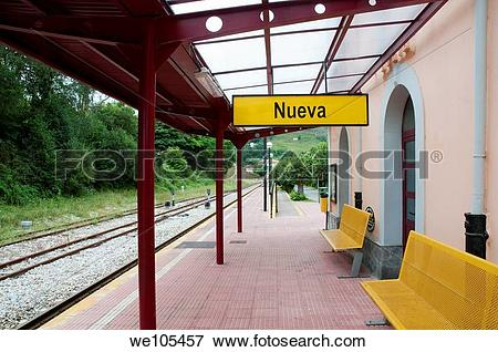 Picture of FEVE railway station. Nueva, Asturias province, Spain.