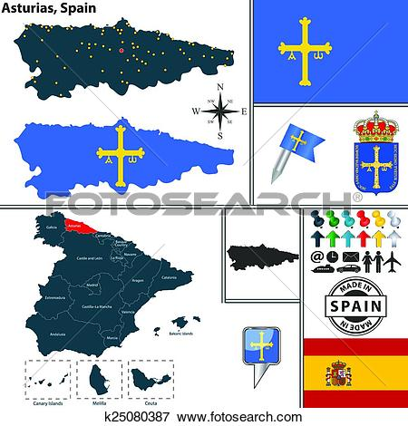 Clip Art of Map of Asturias, Spain k25080387.