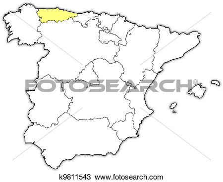 Clipart of Map of Spain, Asturias highlighted k9811543.
