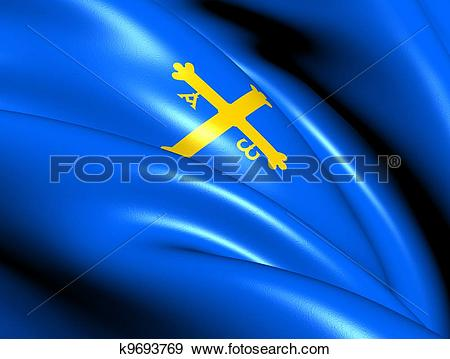Stock Illustration of Principality of Asturias Flag, Spain.
