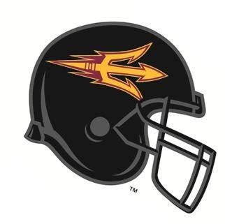 4 Inch ASU Logo Football Helmet Decal Trident Pitchfork Arizona State  University Sun Devils AZ Removable Wall Sticker Art NCAA Home Room Decor 4  by 3.
