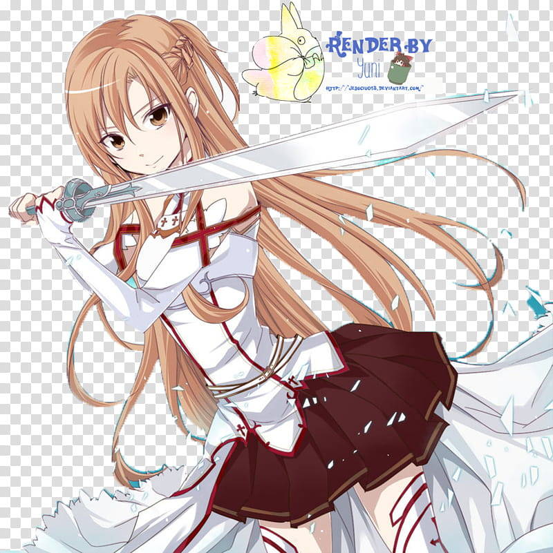 Anime Asuna transparent background PNG clipart.