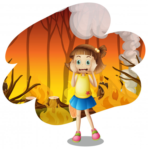 A young girl scare of wildfire Vector.