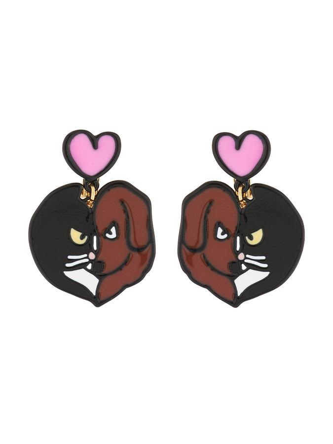 N2 x Les Néréides Loves Animals Like cats and dogs hanging clip on earrings.