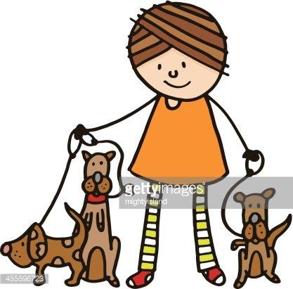 Dog walker Clipart Image.