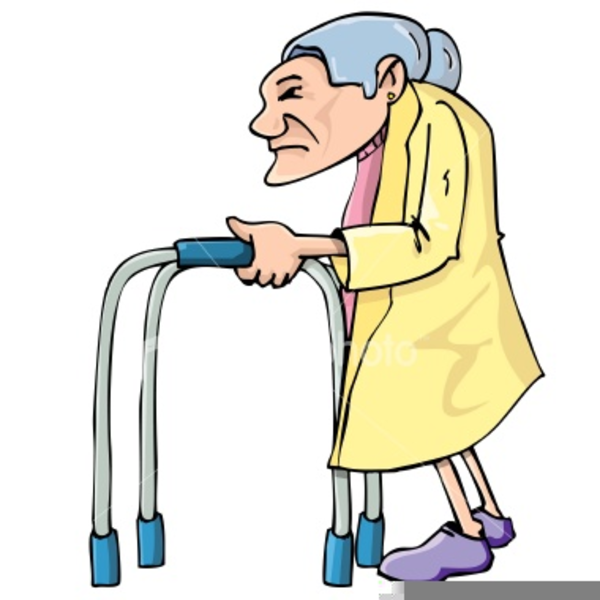 Old Lady Walker Clipart.