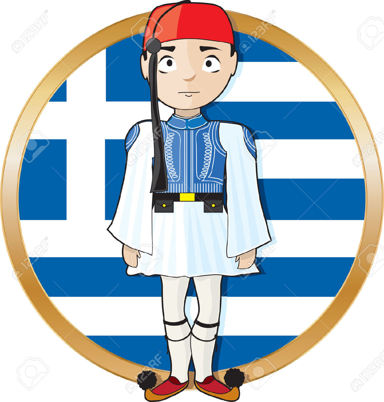A Greek Evzone Standing At Attention In Frontof A Greek Flag.