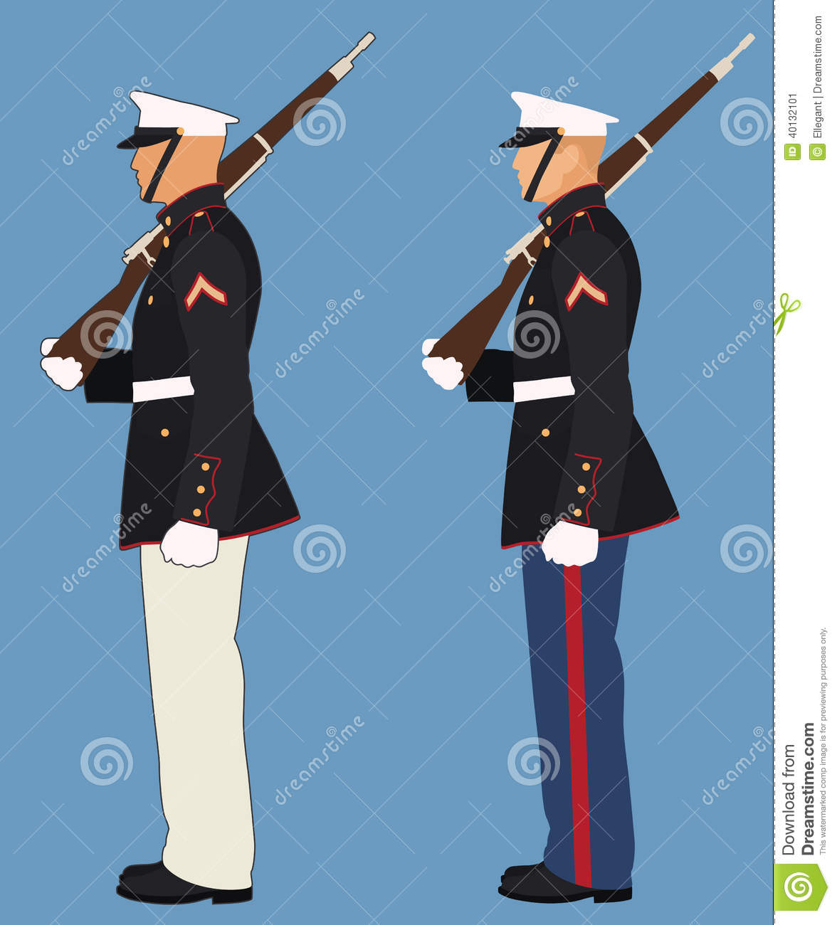 Marine With Rifle On Shoulder Standing At Attention #mfGnnW.