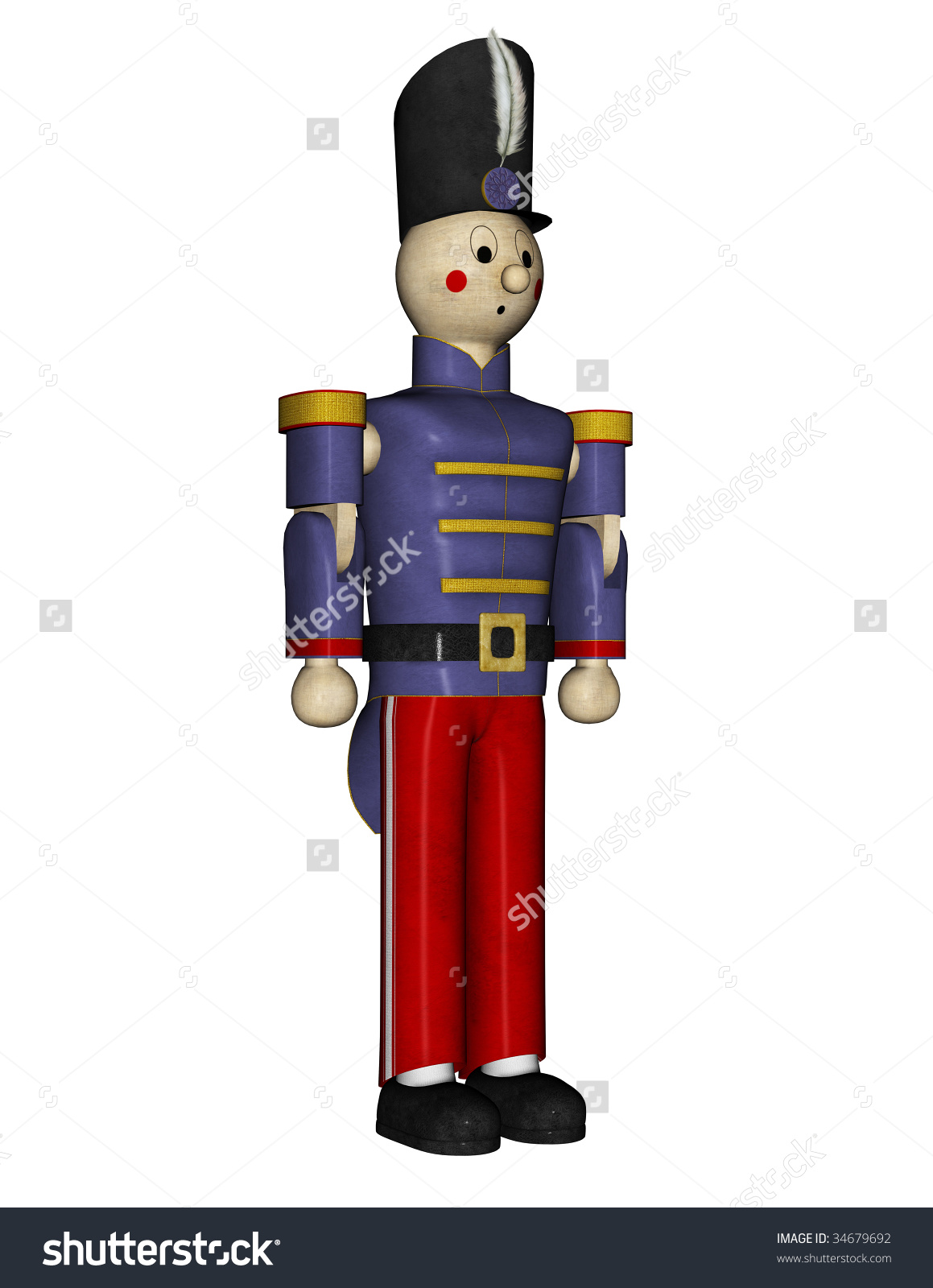 Nutcracker Suite Toy Soldier Blue Uniform Stock Illustration.