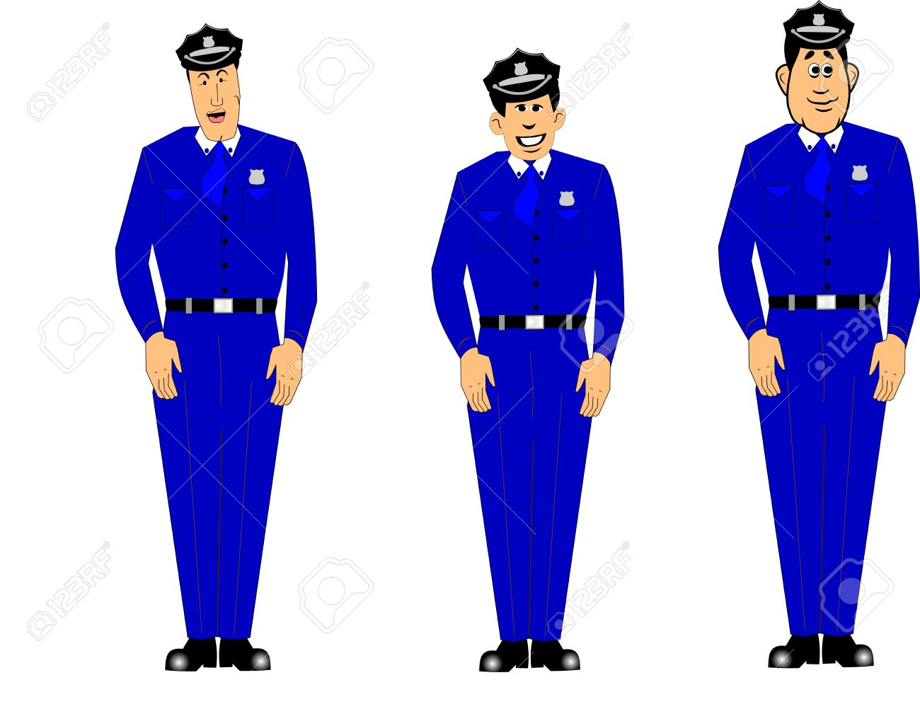 Policemen In Blue Uniforms At Attention Royalty Free Cliparts.