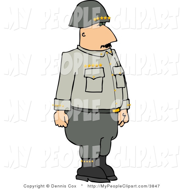 Clip Art of a Military 5 Star General Standing Upright and at.