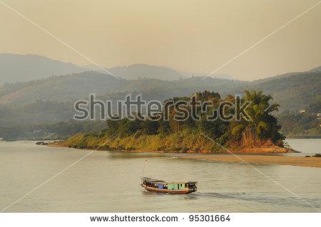 Mekong River Thailand Stock Photos, Royalty.
