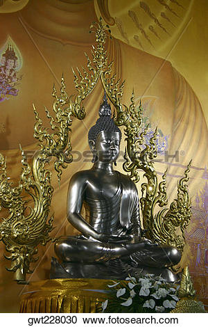 Stock Photography of Statue of Buddha in a temple, Chiang Khong.