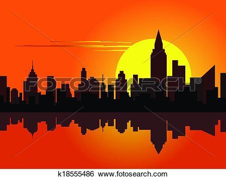 Clip Art of City at dawn k18555486.