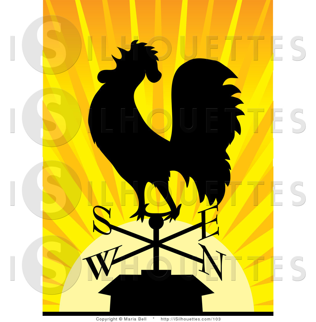 At The Crack Of Dawn Rooster Crowing Clipart.