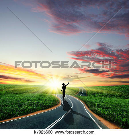Stock Illustrations of Man walking away at dawn along road.