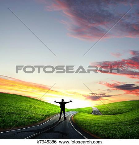 Drawing of Man walking away at dawn along road k8094353.