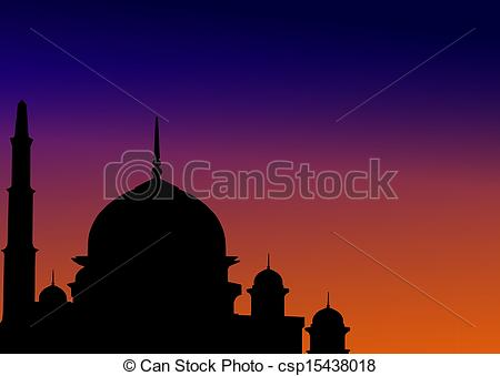 Clipart of Mosque at dawn csp15438018.