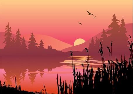 Vector Lake At Dusk, Clip Art.