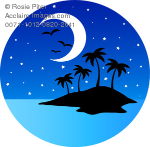 Clip Art Image of a an Island With Birds, Stars, and a Half Moon.