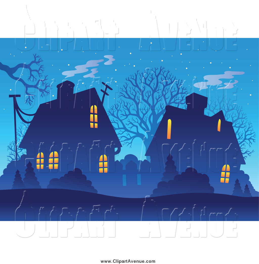 Avenue Clipart of a Winter Village and Bare Trees at Dusk by.