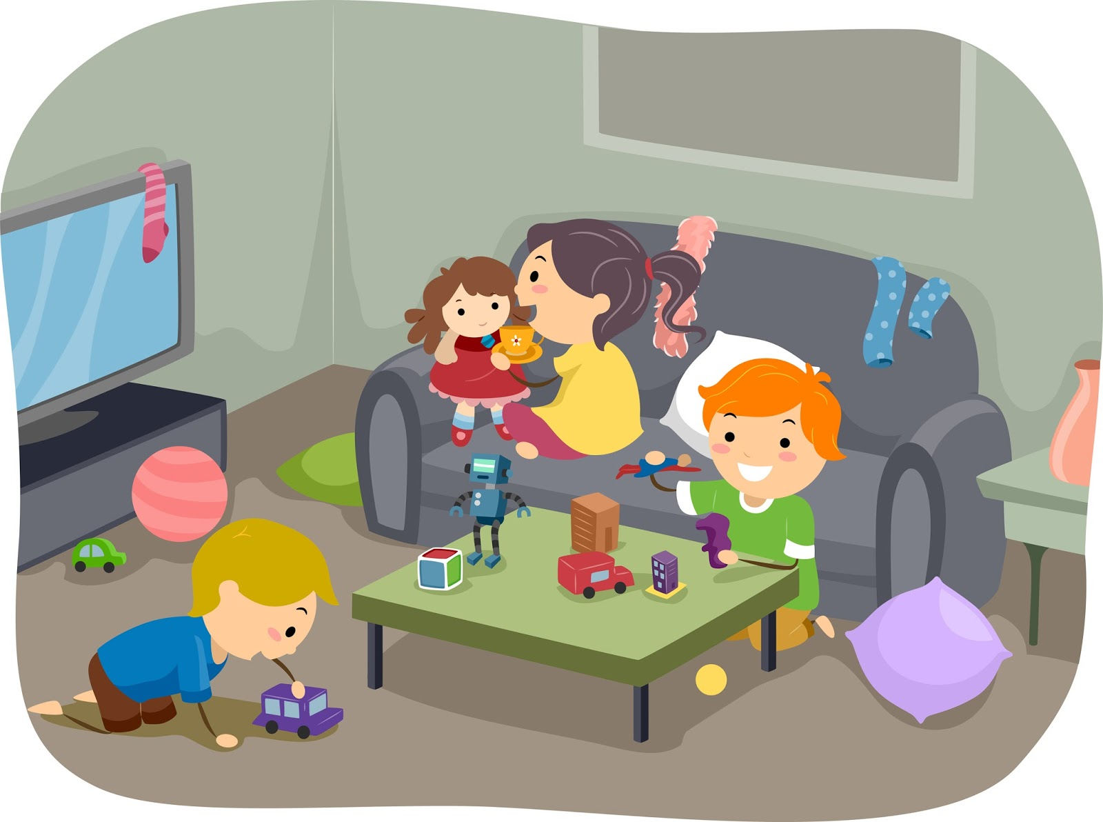 Kids playing at home clipart.