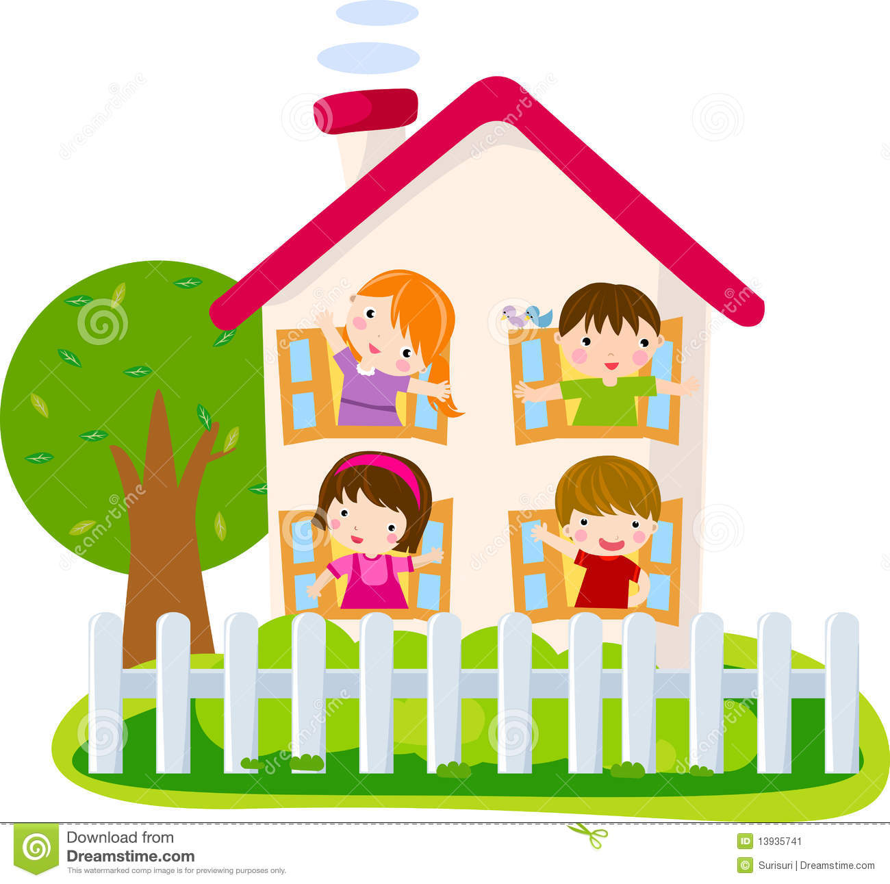 Kids at home clipart.