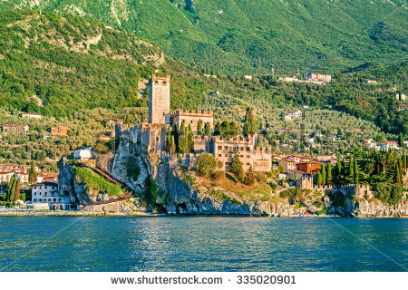 Castle On Malcesine On Lake Garda Stock Photo 335020901.