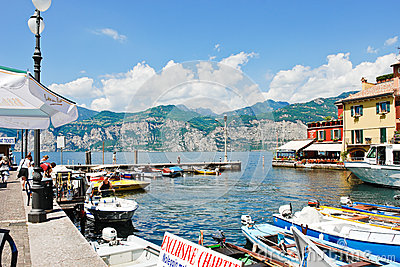 Waterfront In Town Malcesine, Lake Garda, Italy Editorial Stock.
