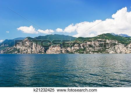 Stock Image of Lake Garda from Malcesine town, Italy k21232425.