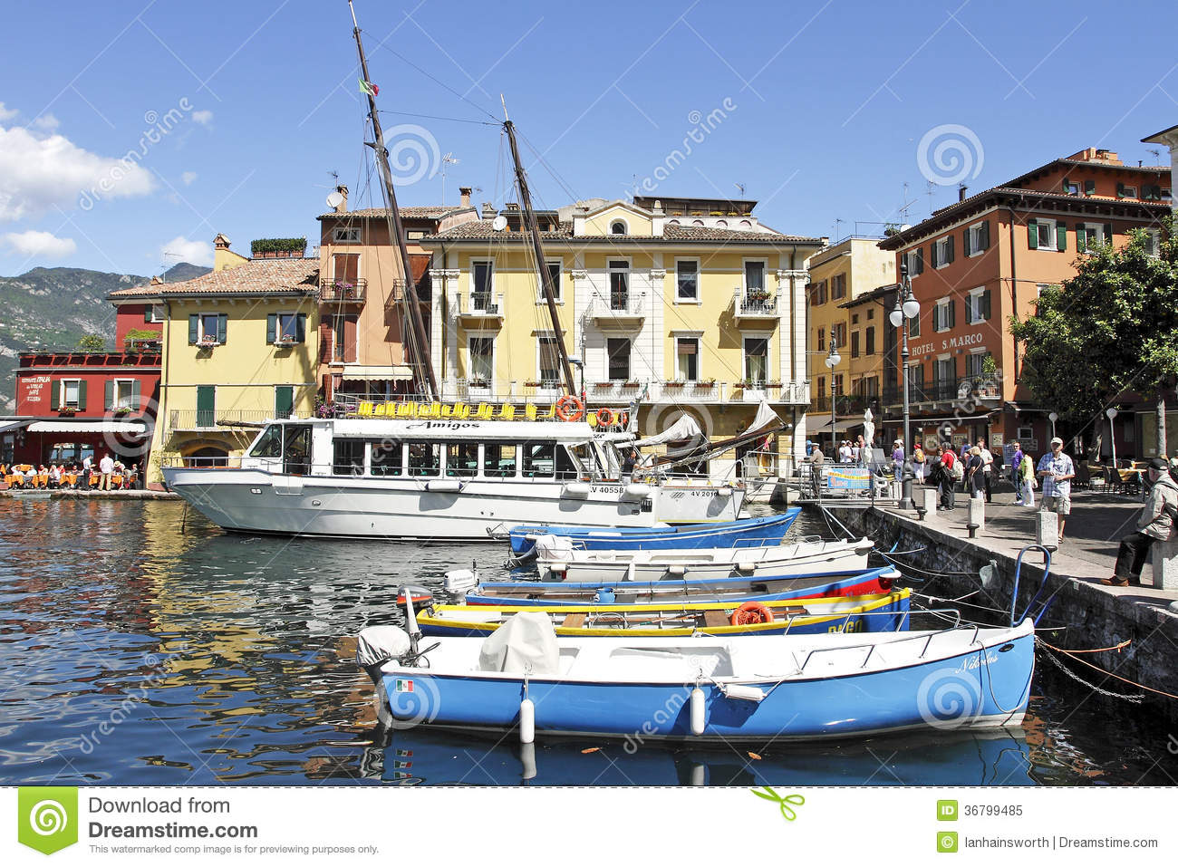 The Harbour At Malcesine On Lake Garda, Italy. Editorial Image.