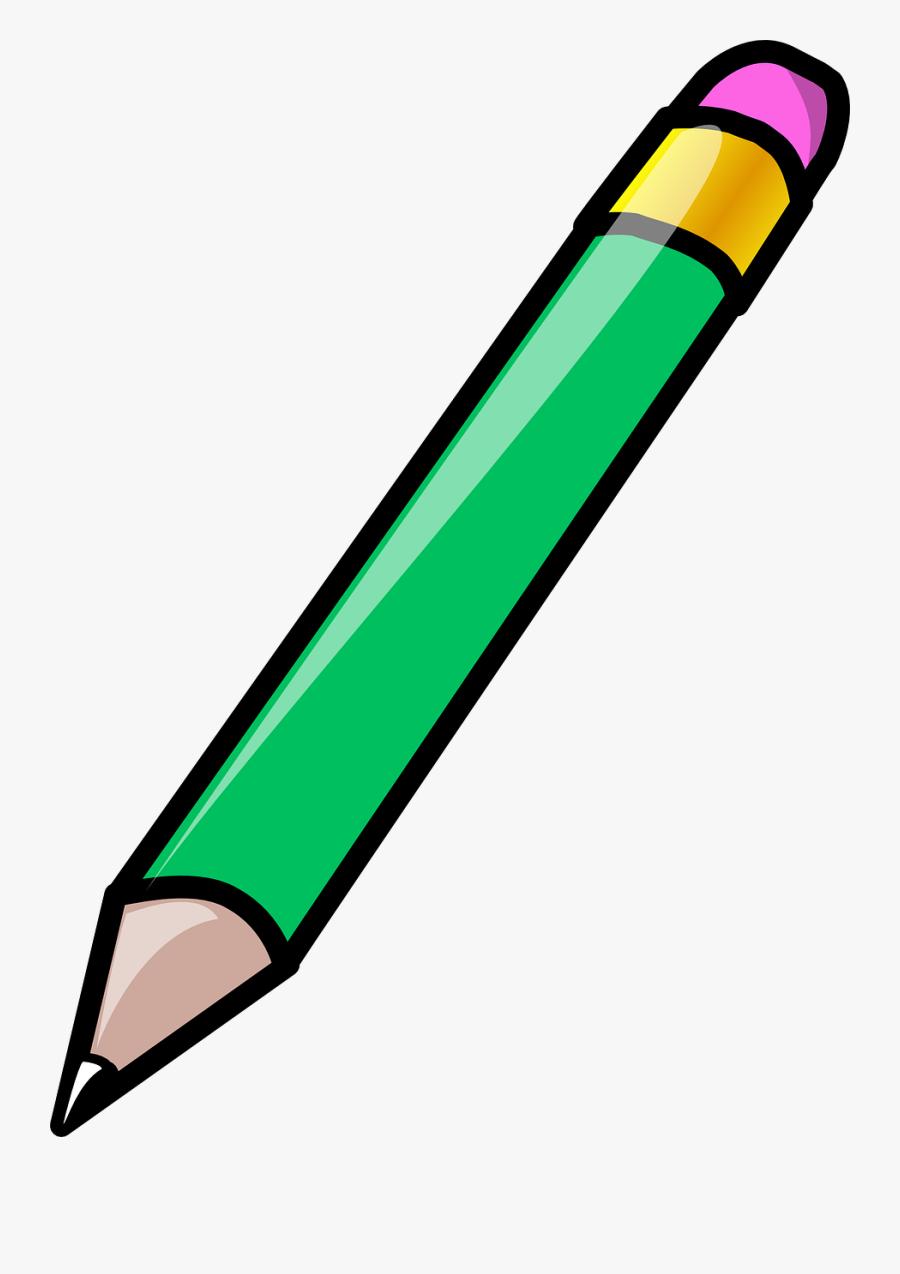Pencil, Eraser, Green, Write, Sketch, Draw, School,.